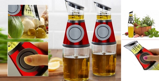 Μπουκάλι Press & Measure με μετρητή για το λάδι ή το ξύδι! - OEM οργάνωση κουζίνας   εργαλεία κουζίνας