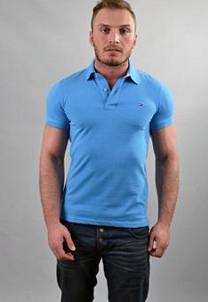 Μπλούζα polo Tommy Hilfiger αντρική γυναικέια (unisex) τυρκουάζ κοντομάνικη - To ανδρική ένδυση   ανδρικές μπλούζες