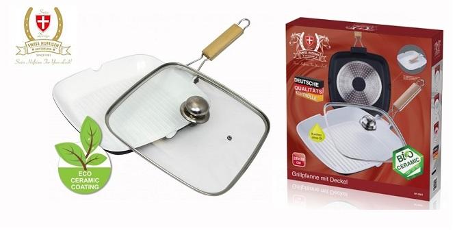 Τηγάνι Grill της Ελβετικής Swiss Hufeisen με γυάλινο καπάκι & κεραμική επίστρωση σκεύη μαγειρικής   τηγάνια