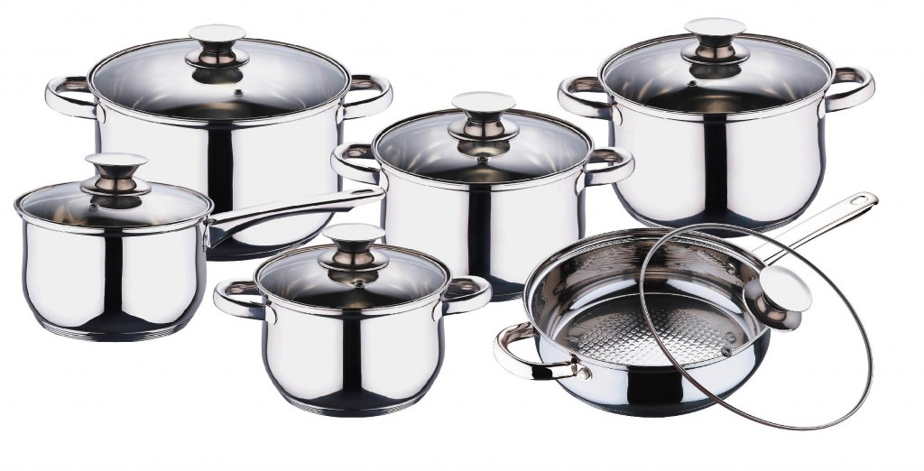 Blaumann Σετ Μαγειρικά σκεύη 12 τμχ. JUMBO από Ανοξείδωτο Ατσάλι με γυάλινα καπά σκεύη μαγειρικής   σετ μαγειρικών σκευών