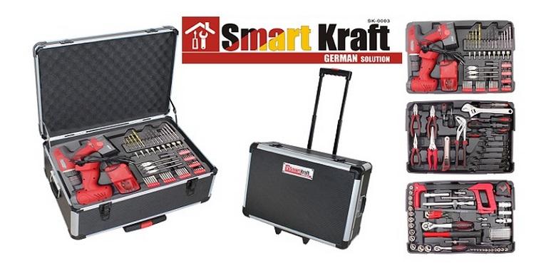 Εργαλειοθήκη βαλίτσα τροχήλατη με 259τμχ και τηλεσκοπικό χερούλι με Επαναφορτιζό σπίτι   εργαλεία