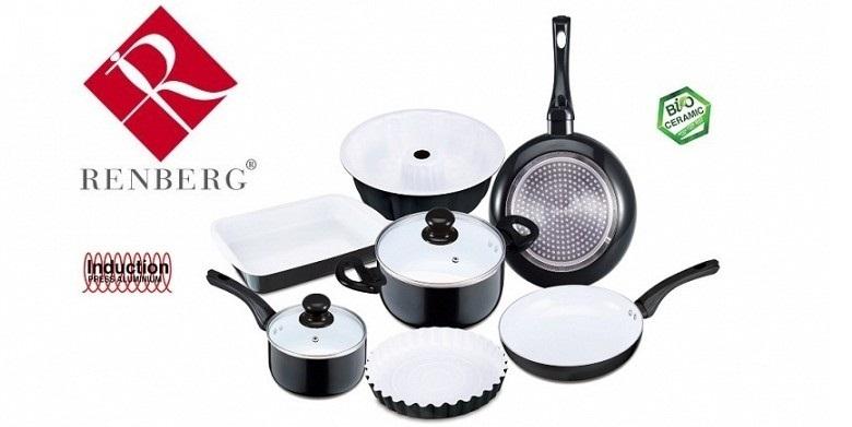 Σετ Μαγειρικά Σκεύη 9τεμ με Κεραμική Επίστρωση Μαύρο, Renberg RB-1245-BK - Renbe σκεύη μαγειρικής   σετ μαγειρικών σκευών