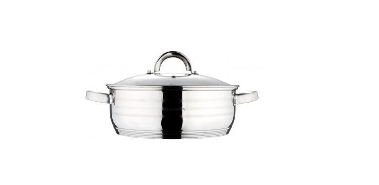 Blaumann Ρηχή Κατσαρόλα 28cm από Ανοξείδωτο ατσάλι με Γυάλινο καπάκι, Gourmet Line, BL-1504 - Blaumann