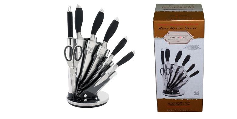 Royalty line Σετ μαχαίρια 8 τμχ από ανοξείδωτο ατσάλι και βάση σε μάυρο χρώμα RL αξεσουάρ μαγειρικής   μαχαίρια κουζίνας