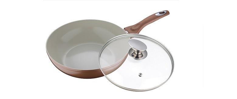 Blaumann BL-1559 Γουοκ 28cm με κεραμική επίστρωση και Γυάλινο καπάκι Copper Line σκεύη μαγειρικής   γουόκ