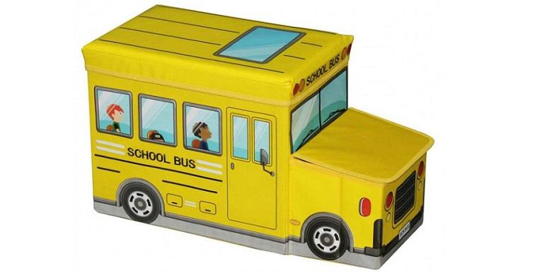 Κουτί Αποθήκευσης παιχνιδιών- Παιδικό Σκαμπό κάθισμα Σχολικό Λεωφορείο με 2 Θέσε παιχνίδια  παιδί  και  βρέφος   έξυπνα   εκπαιδευτικά παιχνίδια