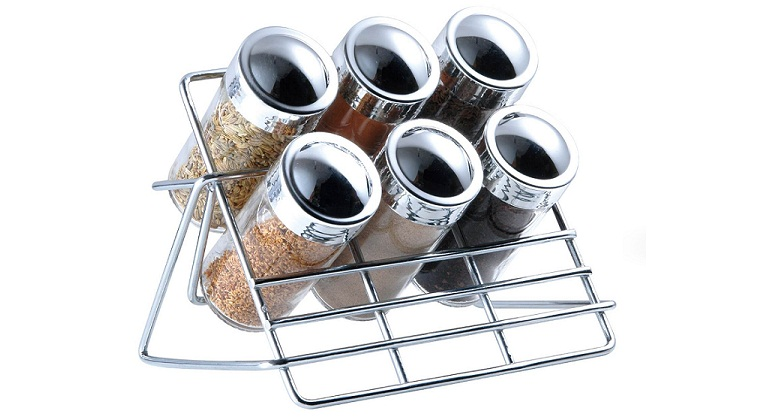 Blaumann Σετ Μπαχαρικών 7 τεμ. από Γυαλί και Μεταλλική Βάση, BL-3219 - Blaumann αξεσουάρ και εργαλεία κουζίνας   βαζάκια και θήκες μπαχαρικών