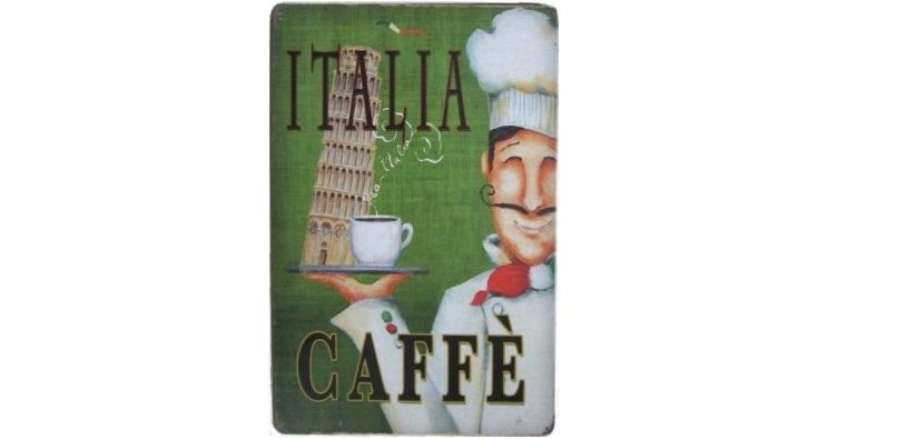 Διακοσμητική Μεταλλική Πινακίδα (20Χ30cm) Italia Caffè! - OEM διακόσμηση και φωτισμός   διακοσμητικά τοίχου