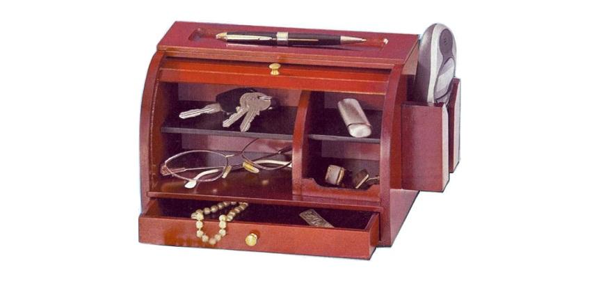 Ξύλινο Κουτί - Roll Top Valet, για κλειδιά, μικροαντικείμενα και θήκη για κινητό έπιπλα   κλειδοθήκες