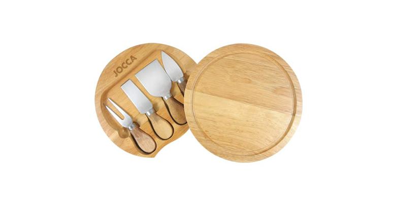 Jocca 5182 Σετ Σερβιρίσματος Ξύλινος Δίσκος κοπής με 4 ειδικά μαχαίρια για Pizza για την κουζίνα   σερβίρισμα