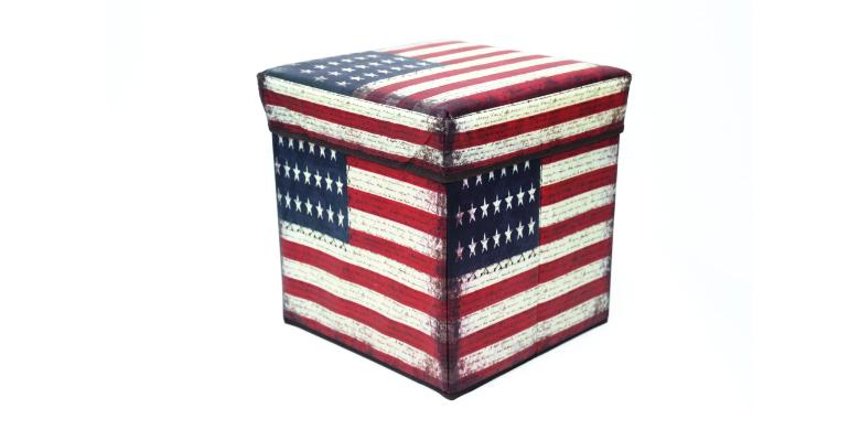 Σκαμπό και αποθηκευτικός χώρος USA Flag Storage Box - Storage Box έπιπλα   πουφ και σκαμπό