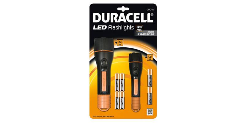 Φακοί, σετ 2 τεμάχια, τύπου CLX με 6 μπαταρίες δώρο, Duo-A, Duracell 00727 - Dur gadgets   φακοί