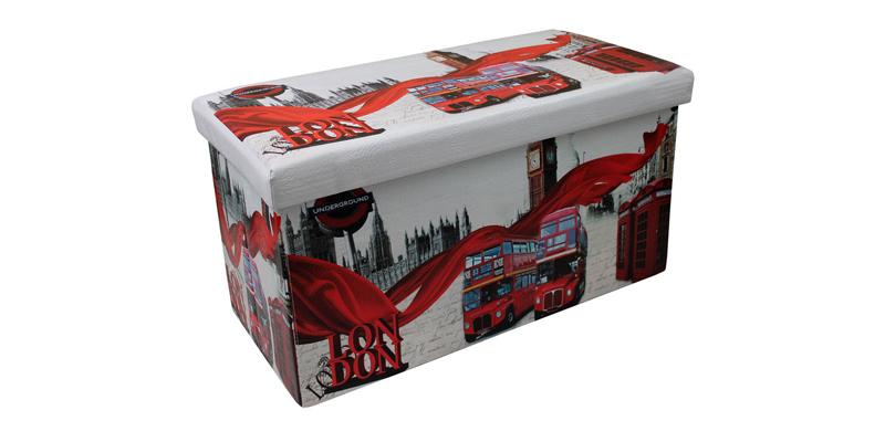 Σκαμπό Πτυσσόμενο με Αποθηκευτικό Χώρο 76.5x38x38cm με θέμα London, OEM 00874 -  έπιπλα   πουφ και σκαμπό