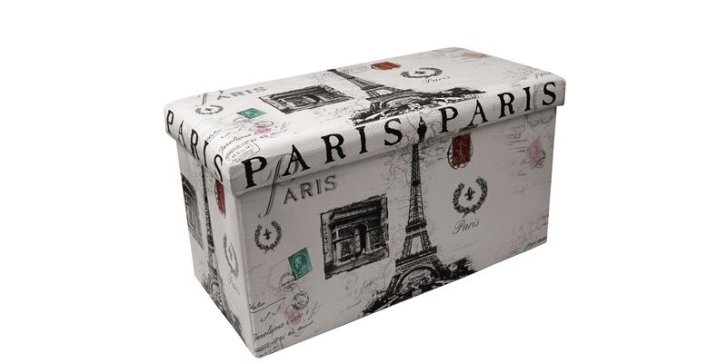 Σκαμπό Πτυσσόμενο με Αποθηκευτικό Χώρο 76 5x38x38cm θέμα Paris  00875 Homestyle οργάνωση σπιτιού  κουτιά αποθήκευσης