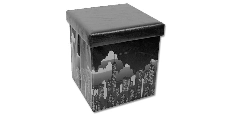 Σκαμπό Πτυσσόμενο με Αποθηκευτικό Χώρο 38x38x38cm θέμα New York  OEM 00889 οργάνωση σπιτιού  κουτιά αποθήκευσης