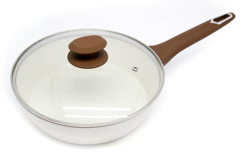 Βαθύ Τηγάνι 28 εκ. κεραμική επίστρωση γυάλινο καπάκι πάτο induction κατάλληλο γι σκεύη μαγειρικής   τηγάνια