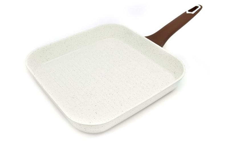 Τηγάνι Γκριλ (Grill) 26cm με κεραμική επίστρωση σε Λευκό χρώμα, Luigi Ferrero FR-2671GR – Luigi Ferrero