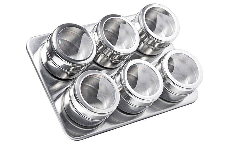 Luigi Ferrero Σετ βάζα μπαχαρικών 6 τεμ απο ανοξείδωτο ατσάλι με καπάκια και βάσ για την κουζίνα   οργάνωση κουζίνας