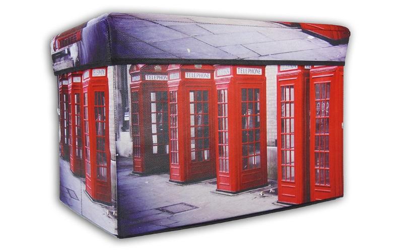 Σκαμπό Πτυσσόμενο με Αποθηκευτικό Χώρο 49x31x33cm με θέμα Double London, Jocca 2 έπιπλα   πουφ και σκαμπό