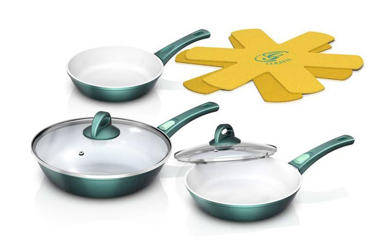 Genius Cerafit Fusion Σετ Μαγειρικά Σκεύη με Κεραμική Επίστρωση και γυάλινα καπάκια σε πράσινο χρώμα – Genius