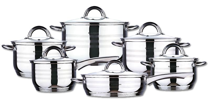 Σετ ανοξείδωτων μαγειρικών σκευών, 12 τεμάχια, Blaumann BL-1410 - Blaumann - 000 σκεύη μαγειρικής   σετ μαγειρικών σκευών