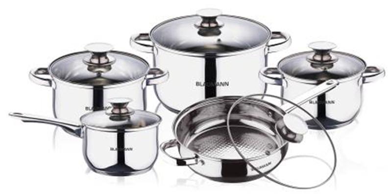 Blaumann Σετ μαγειρικά σκεύη 10 τεμ απο Ανοξείδωτο Ατσάλι Αντικολλητικά με πάτο  σκεύη μαγειρικής   σετ μαγειρικών σκευών
