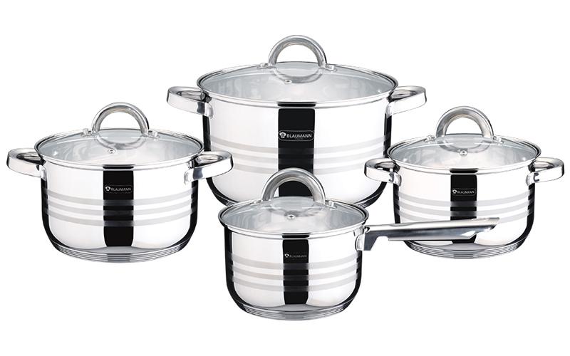 Σετ κατσαρόλες, 8 τεμ, με καπάκι, Blaumann BL-3115 - Blaumann σκεύη μαγειρικής   σετ μαγειρικών σκευών