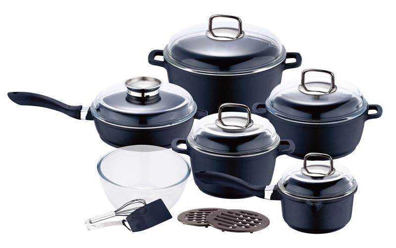 Σετ μαγειρικά σκεύη, 15τεμ, μαρμάρινη επίστρωση, Swiss Hufeisen SF-3018 - Swiss  σκεύη μαγειρικής   σετ μαγειρικών σκευών