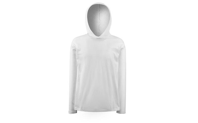 Ανδρικό Φούτερ με κουκούλα Long Sleeve Hooded T σε Λευκό χρώμα, Fruit of the Loo ανδρική ένδυση   ανδρικά φούτερ πουλόβερ και μπουφάν