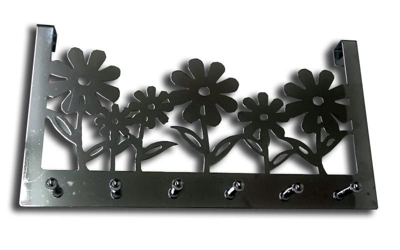 Κρεμάστρα πόρτας αλουμινίου με Λουλούδια 298mm με 6 γάντζους σε Νίκελ χρώμα, L.D οργάνωση σπιτιού   κρεμάστρες