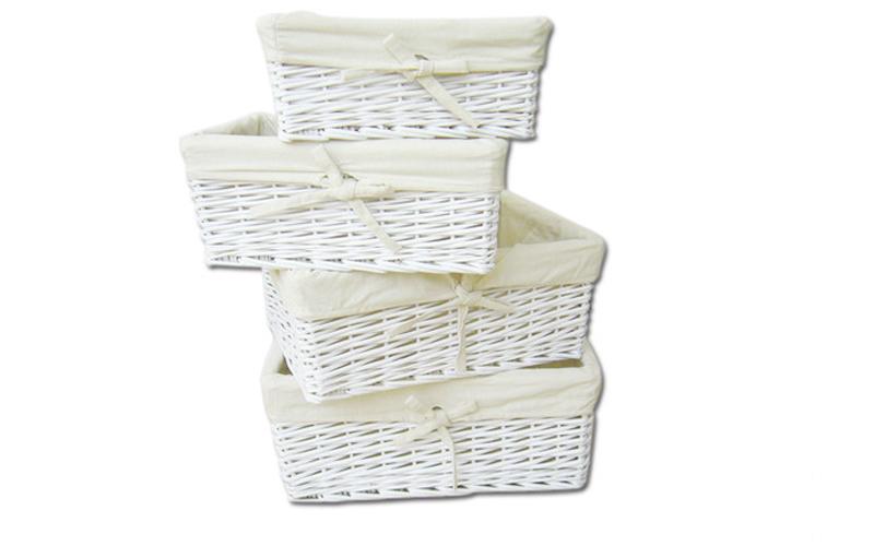 Ψάθινα καλαθάκια αποθήκευσης ιδανικά για μπάνιο σετ 4 τεμ σε χρώμα λευκό Jocca 3 μπάνιο   καλάθια μπάνιου
