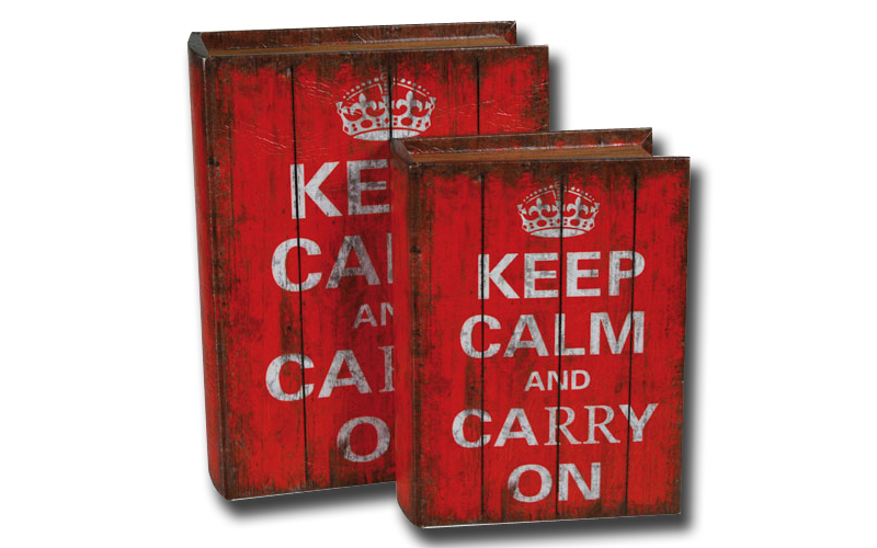 Ξύλινα κουτιά αποθήκευσης Vintage σε στυλ Βιβλίου σετ 2 τεμ Keep Calm and Carry  διακόσμηση   διάφορα διακοσμητικά