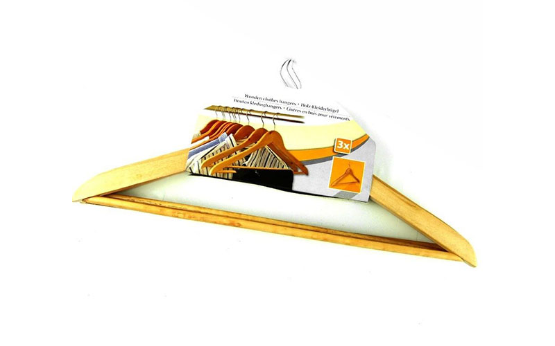 Κρεμάστρες Ξύλινες με μεταλλικό γάτζο 3 τεμ., Cb 80987 - Cb οικιακά είδη   διάφορα είδη για το σπίτι