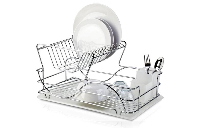 Μοντέρνα Διώροφη Μεταλλική Πιατοθήκη Στεγνωτήριο πιάτων ποτηριών μαχαιροπήρουνων οργάνωση κουζίνας   εργαλεία κουζίνας