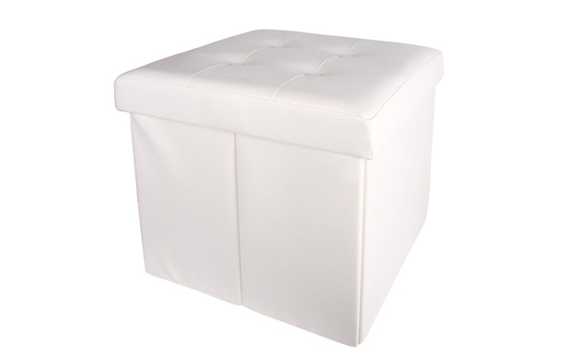 Σκαμπό Πτυσσόμενο με Αποθηκευτικό Χώρο σε Λευκό χρώμα 38x38x38cm απο Faux Δέρμα, οργάνωση σπιτιού   κουτιά αποθήκευσης