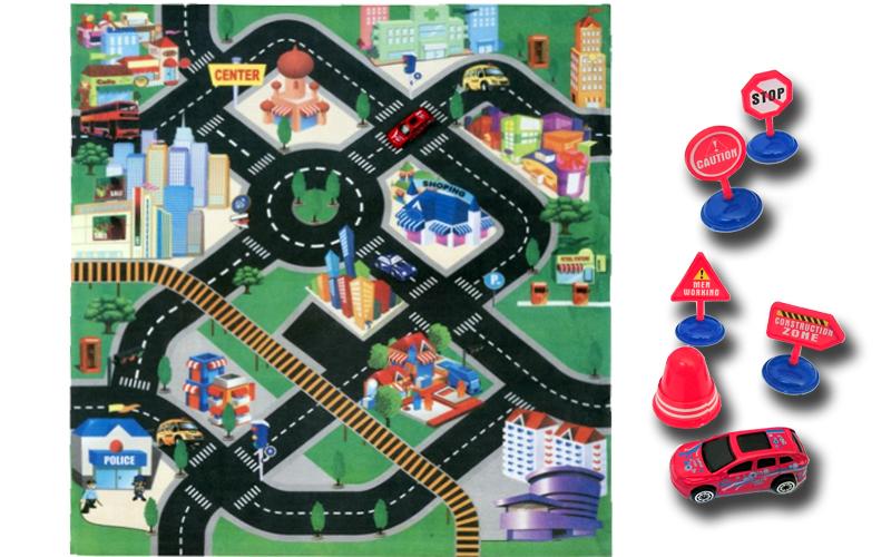 Gearbox Σετ Παιχνιδιού Πόλη Χαλάκι 80x70cm που περιλαμβάνει Οδικά σήματα και 1 α παιχνίδια  παιδί  και  βρέφος   έξυπνα   εκπαιδευτικά παιχνίδια