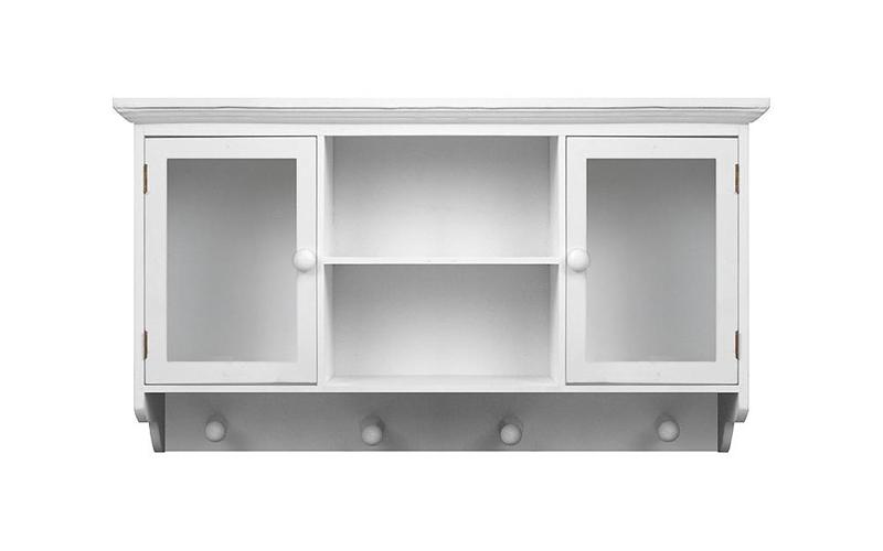 Ξύλινο Κρεμαστό Ντουλάπι Τοίχου με 4 κρεμάστρες Γάντζους σε Λευκό Χρώμα - OEM -  οργάνωση σπιτιού   ντουλάπες
