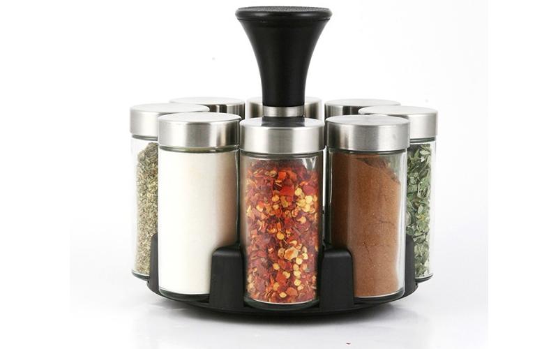 Luigi Ferrero FR-1448SP Σετ γυάλινα βαζάκια μπαχαρικών 8 τεμ με καπάκια και περι για την κουζίνα   οργάνωση κουζίνας