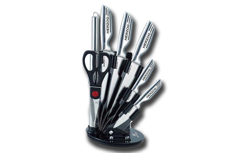 Σετ μαχαιριών 8 τεμαχίων από ανοξείδωτο ατσάλι σε πρακτική περιστρεφόμενη βάση,  αξεσουάρ και εργαλεία κουζίνας   μαχαίρια κουζίνας