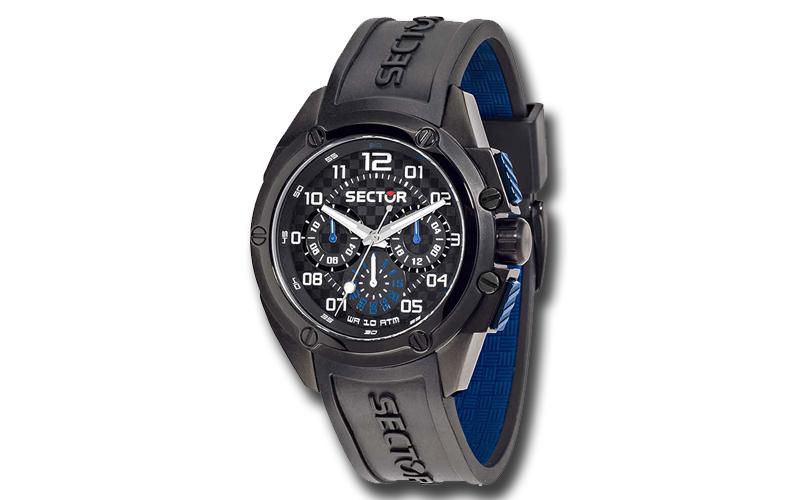 Sector R3251581001 Ανδρικό Ρολόι Multi function Black Rubber Strap Chronograph - ρολόγια χειρός   ανδρικά ρολόγια χειρός