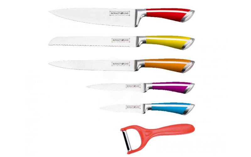 Royalty Line RL-SS601 Σετ 5 αυθεντικών ελβετικών μαχαιριών από ανοξείδωτο ατσάλι σε κασετίνα & Δώρο Αποφλοιωτή – Royalty Line Switzerland