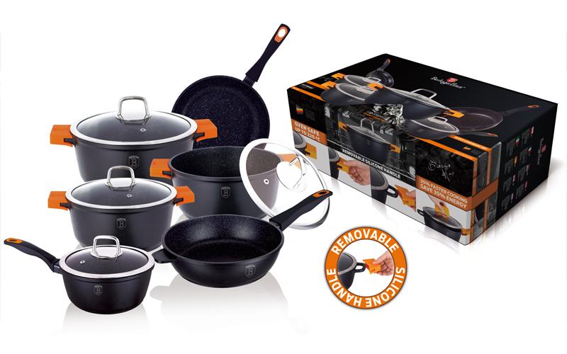 Σετ Μαγειρικά Σκεύη 10 τεμ απο Τριπλή Μαρμάρινη Επίστρωση σε Μαύρο χρώμα αποτελο σκεύη μαγειρικής   σετ μαγειρικών σκευών
