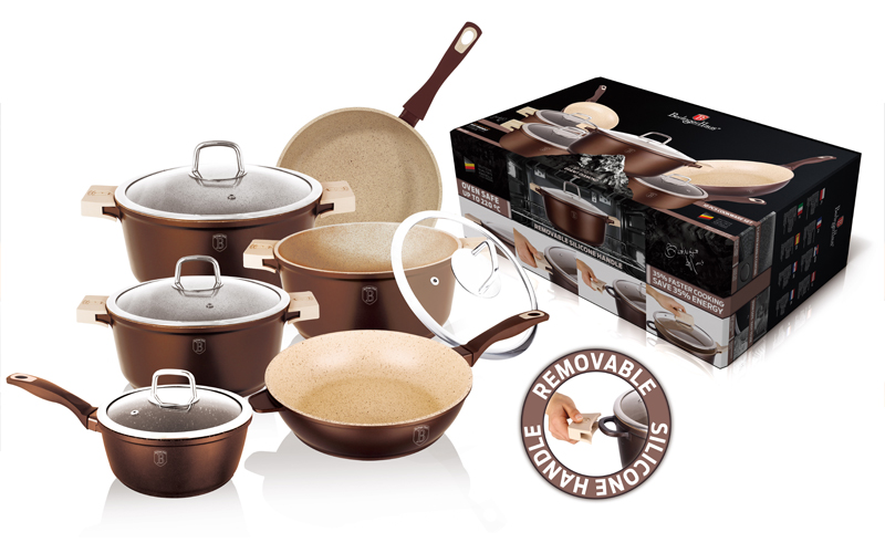 Berlinger Haus BH-1113 Σετ Μαγειρικά Σκεύη 10 τεμ απο Τριπλή Μαρμάρινη Επίστρωση σε Copper χρώμα αποτελούμενο απο 4 κατσαρόλες με γυάλινα καπάκια, 2 τηγ