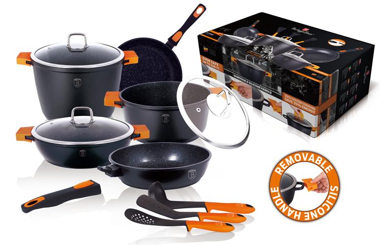 Σετ Μαγειρικά Σκεύη 11 τεμ απο Τριπλή Μαρμάρινη Επίστρωση σε χρώμα Μαύρο αποτελο σκεύη μαγειρικής   σετ μαγειρικών σκευών
