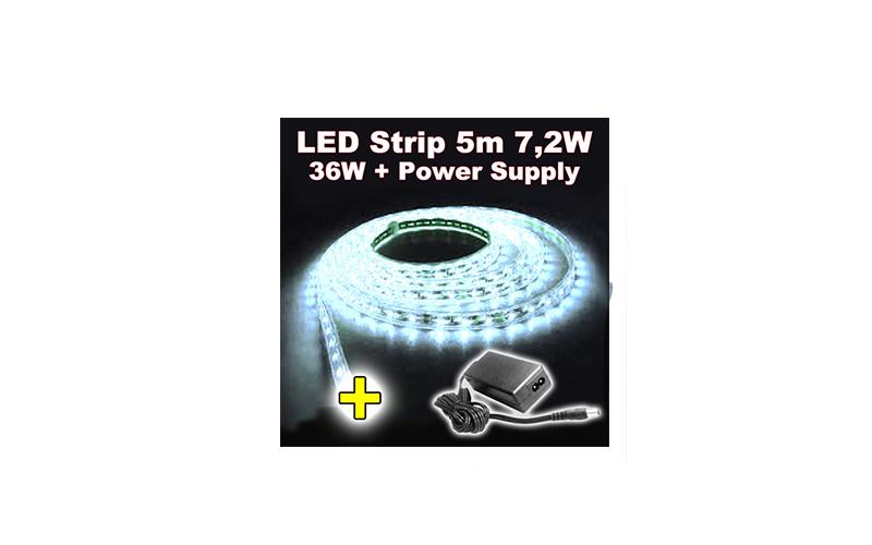 Σετ Αδιάβροχη Ταινία LED 5 μέτρων White 60SMD 7,2W 12V με τροφοδοτικό – OEM