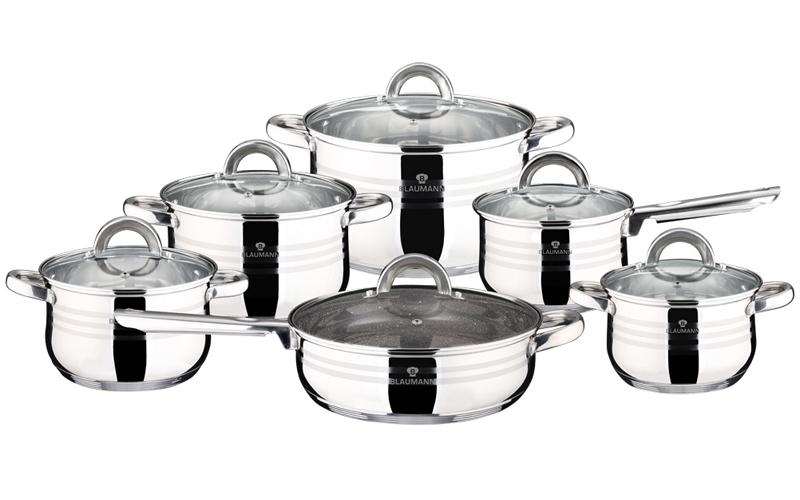 Blaumann Σετ μαγειρικά σκεύη 12 τεμ απο Ανοξείδωτο Ατσάλι Αντικολλητικά με πάτο  σκεύη μαγειρικής   σετ μαγειρικών σκευών