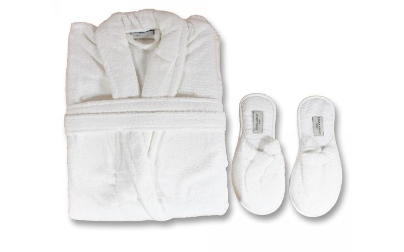 Unisex Μπουρνούζι 100% Βαμβακερό με ασορτί παντόφλες σε Λευκό Χρώμα, Laura Ashle άνδρας   ένδυση