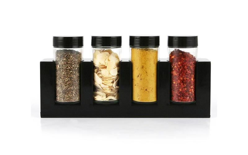 Luigi Ferrero Σετ γυάλινα βαζάκια μπαχαρικών 4 τεμ με καπάκια σε μαύρη επιτραπέζ για την κουζίνα   οργάνωση κουζίνας