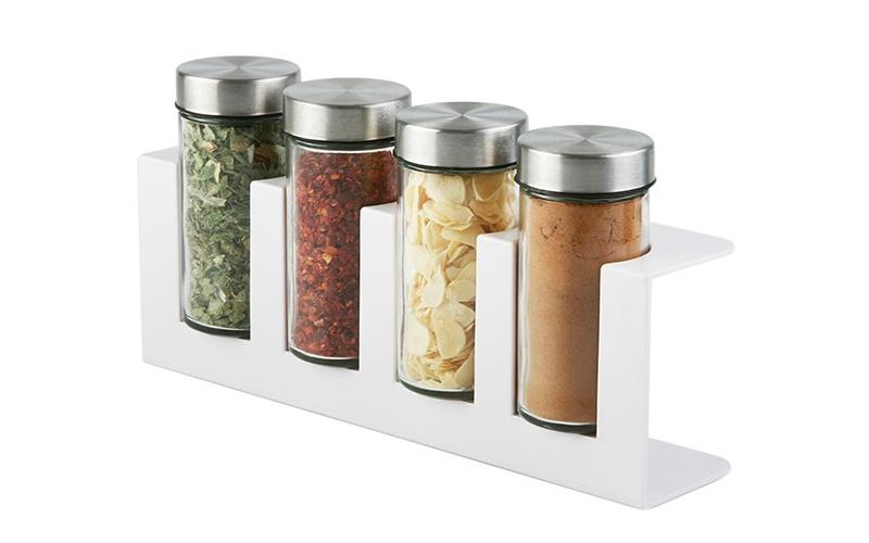 Luigi Ferrero Σετ γυάλινα βαζάκια μπαχαρικών 4 τεμ με μεταλλικά καπάκια σε λευκή για την κουζίνα   οργάνωση κουζίνας