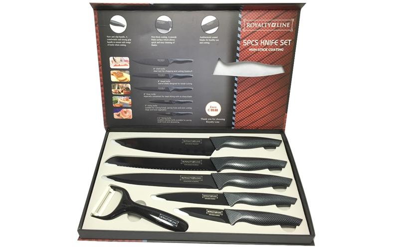Royalty Line RL-CB5 Σετ αντιβακτηριδιακών αντικολλητικών μαχαιριών 6 τεμαχίων απ αξεσουάρ και εργαλεία κουζίνας   μαχαίρια κουζίνας